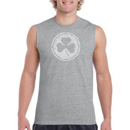 Los Angeles Pop Art Big Men's Sleeveless T-Shirt - Lyrics To When Irish Eyes Are Smiling, Size: 2XL, Gray