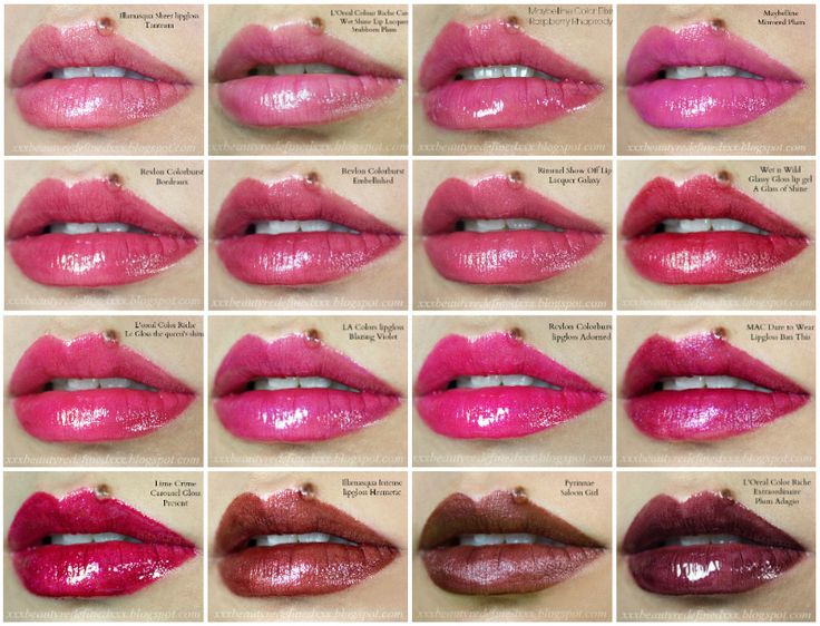 Lipgloss Swatches (16 shades) - Plums and Berries and ...