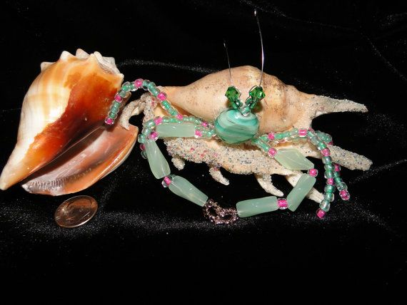 Hermit Crab Seashell Beaded Seagreen Sand Coast by BaublesNBugs, $10.99