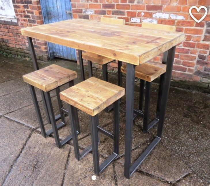 Wood U0026 Metal Desk/ Dining Table Bar Cafe Resturant Tables Steel Metal Hand  Made Bespoke