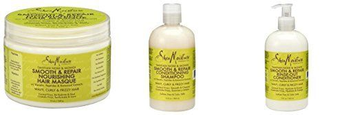 Shea Moisture Tahitian Noni and Monoi Smooth Repair Shampoo Conditioner and Nourishing Masque 3 Piece Set *** Click image to review more details.