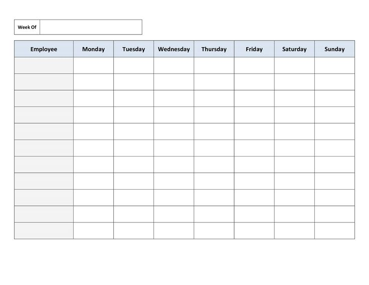 Free Printable Work Schedules | Weekly Employee Work Schedule Template. Free Blank Schedule