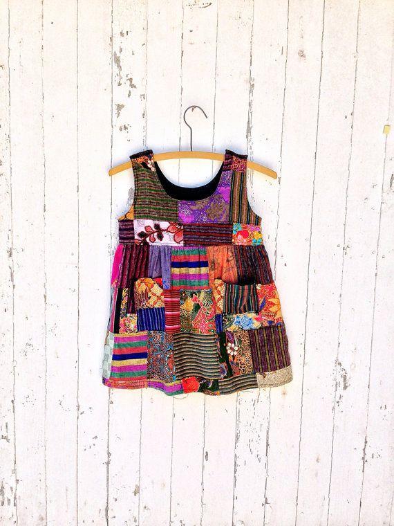 Little Girl Ethnic Patchwork Sun Dress Sz 4 Batik Block Print Indonesia Hippie Dress