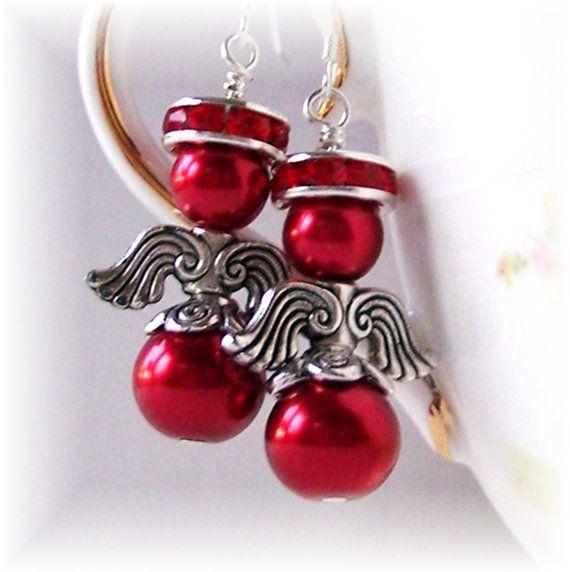 Ángel rojo arándano pendientes, cuelga los pendientes, pendientes, pendientes de Navidad, regalo de joyería vacaciones, Christian, angelical, regalo de cumpleaños