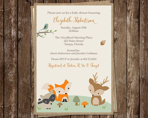 Forest Animals, Baby Shower Invitations, Gender Neutral, Racoon, Deer, Fox, Tree top, 10 Printed Invites, FREE Shipping, Woodland, Pals