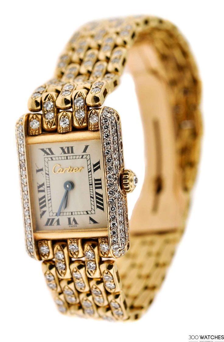 Cartier Tank Louis Yellow Gold Original Diamonds Quartz | discount luxury watches Item ID: 300W108906 | 300watches