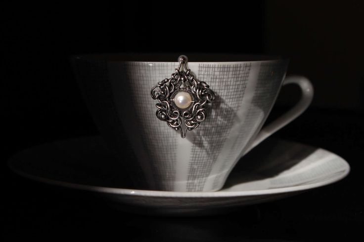 Tea Time Pendant (with silver chain) by designbyeSKay on Etsy