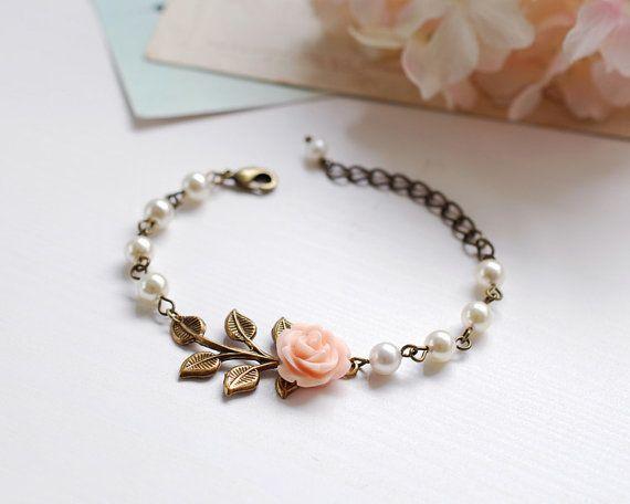Peach Pink Flower Cream Pearls Brass Leaf Bracelet by LeChaim