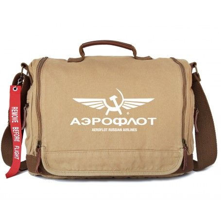 """AEROFLOT BAG Dimensions: L 37cm/14.6""""x H 26cm/10.2"""" x W 12cm/4.7"""" Canvas 100% Cotton, washed. Leather trim & cotton lining Double zip closure, frosted metal zippers Adjustable shoulder strap 3 pockets outside, 1 pocket below the cover, 1 zip pocket, 1 phone pocket, 1 card pocket inside with zipper closure Zippered organiser section under front flap Compatible laptop to 15"""" or A4 book Airlines whistle, Remove Before Flight Flag"""