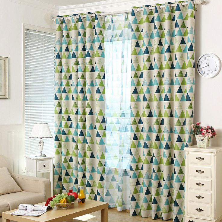 Exceptional Green And Blue Geometric Curtains
