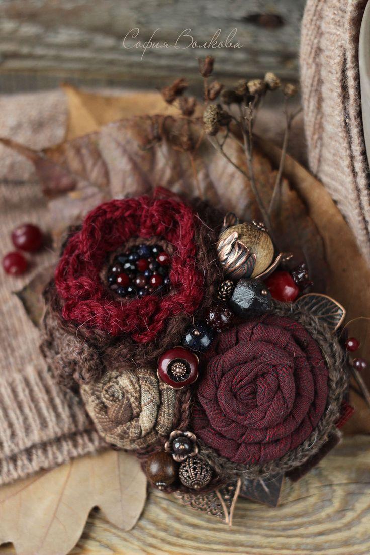 """Купить Брошь """"Сироп из декабря"""" - брошь, брошь из ткани, ягодная брошь, текстильная брошь"""