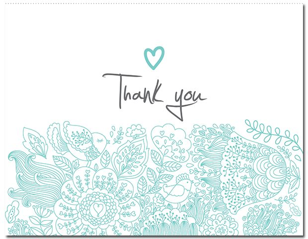 Turqouise Suite Thank You Card - paper, seed, thank, cards, printed, plain, add, ... - EcoCelebrations