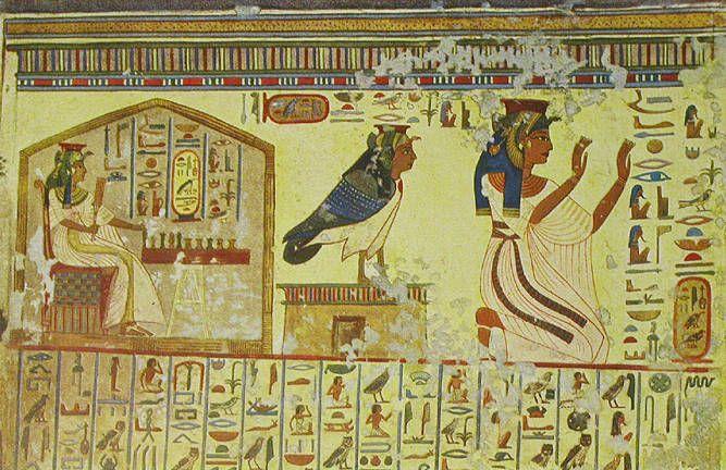 Queen Nefertiti's Tomb   Nefertari playing Senet, and Nefertariwith her Ba.