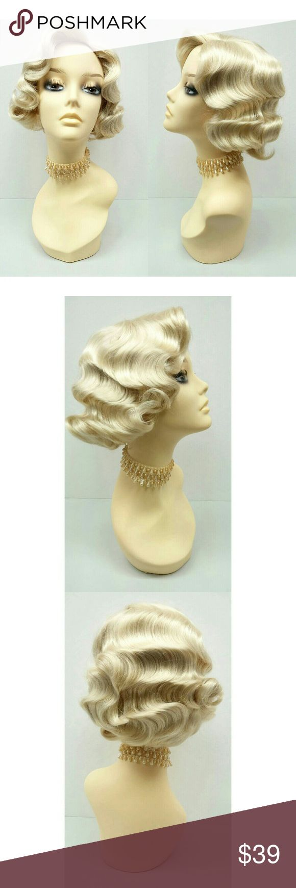"""Blonde finger waves Gatsby flapper style 1920s wig NOTE: This wig is ready to wear and intended for costume purposes only. Do not brush, comb, shake out, or run fingers through the hair as it will separate the waves.  Retro finger waves and curls in a chic short style. Synthetic. *Not heat resistant, do not use heating tools.  Color: Blonde (613) Circumference: Adjustable 21"""" - 22"""" inches Materials: Synthetic fibers  Wig prices are firm. Accessories Hair Accessories"""