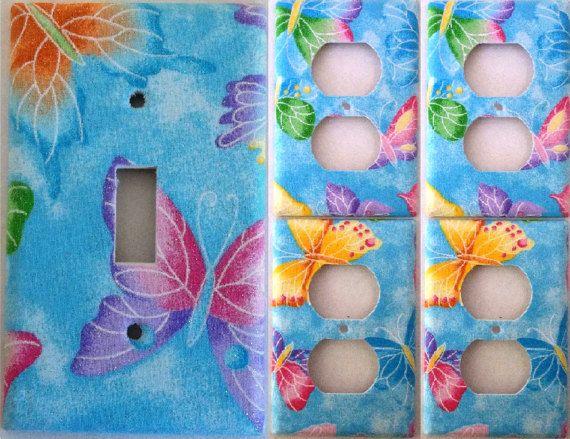 Baby Blue Glitter Butterfly Purple Pink Light Switch Plate