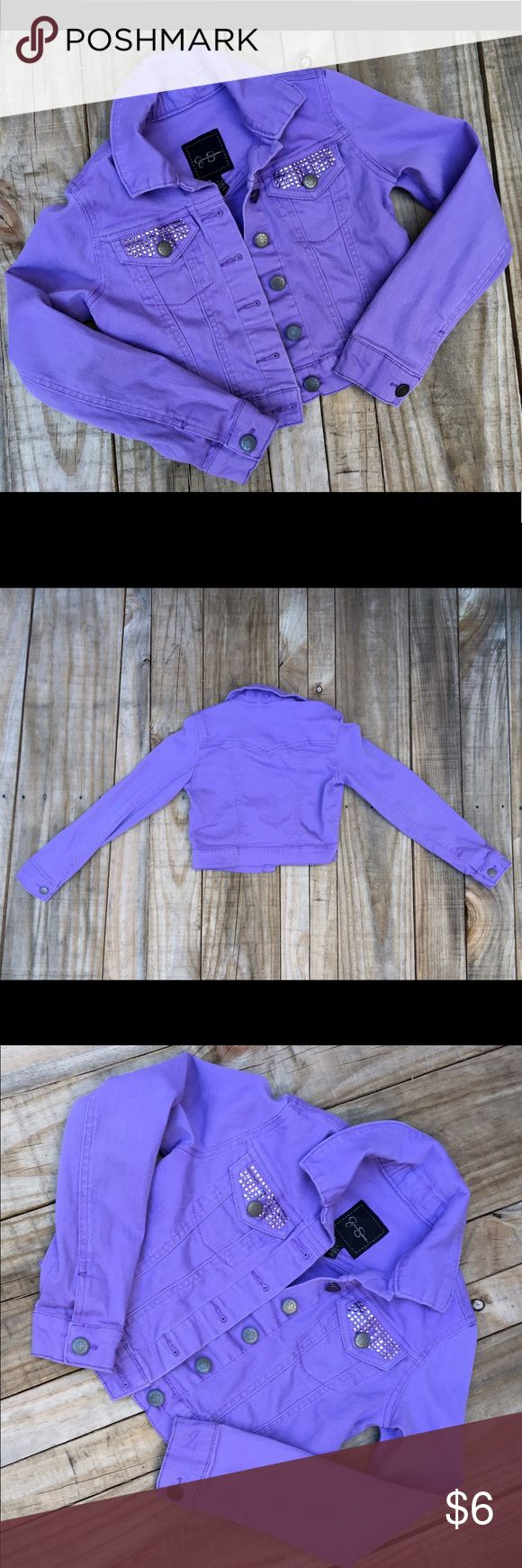 Jessica Simpson Lavender Cotton Denim Jacket Youth Jessica Simpson Lavender Embellished Cotton Denim Jacket  Youth Misses Size Small. Pink Rhinestones on Double Front Pockets Button Down. Missing a Couple of Rhinestones Which Can Be Replaced. Jessica Simpson Jackets & Coats Jean Jackets