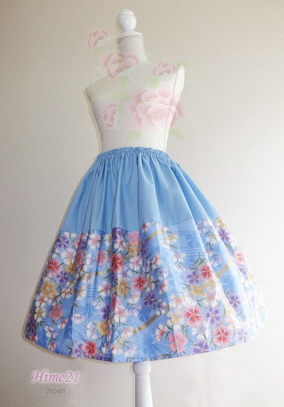 Japanese pattern cotton Skirt Light blue and  flower  by Hime21, ¥5500