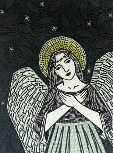 Lino cut ink picture of angel printmaking linocut