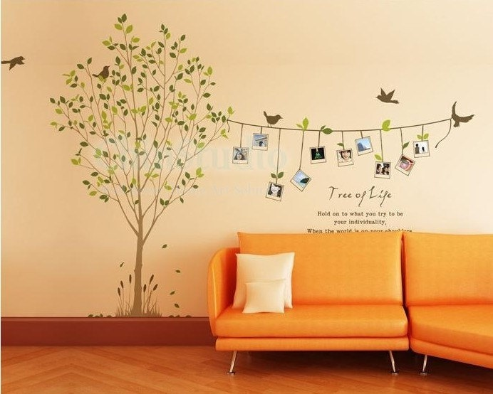 Vinyl wall decals tree decals wall stickers nursery wall decals-6 FEET Tall photo Tree with 10 photo frame.
