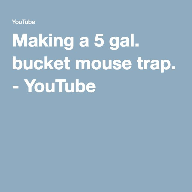 Making a 5 gal. bucket mouse trap. - YouTube