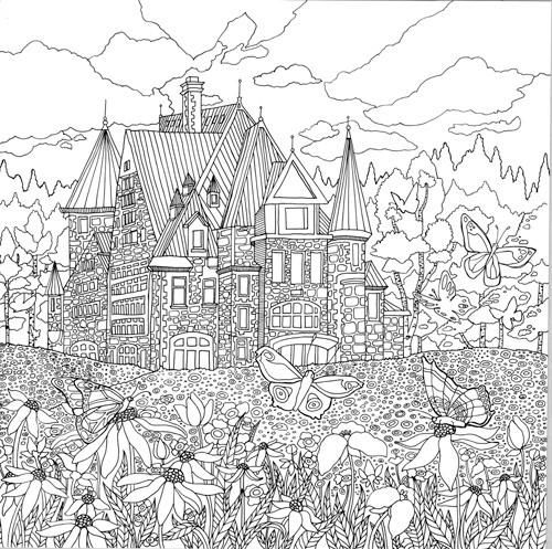 741 best images about adult colouring buildings houses Landscape coloring books for adults