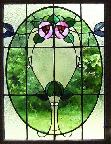 Glasgow Style Art Nouveau, Cambuslang stained glass front door Repairs to the lead and replacement glass was made for this Cambuslang home.