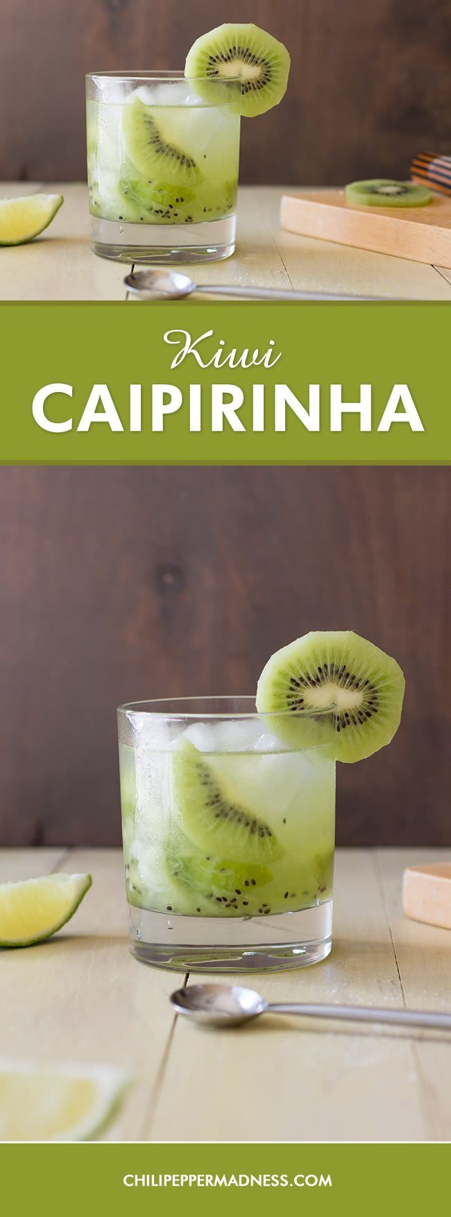Kiwi Caipirinha - A twist on a popular Brazilian drink recipe made with kiwi, lime, sugar and Cachaça or rum - the Caipirinha. It's a tropical vacation in a glass.