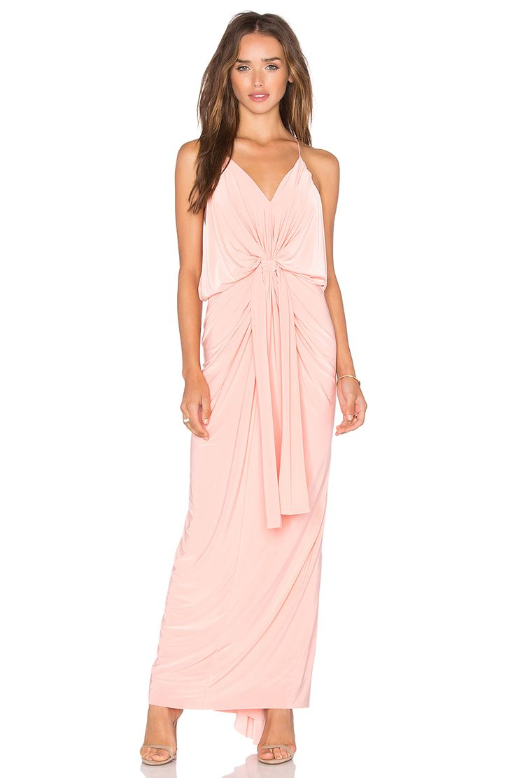 Misa los angeles domino tie front maxi dress in blush for Best wedding dress stores in los angeles