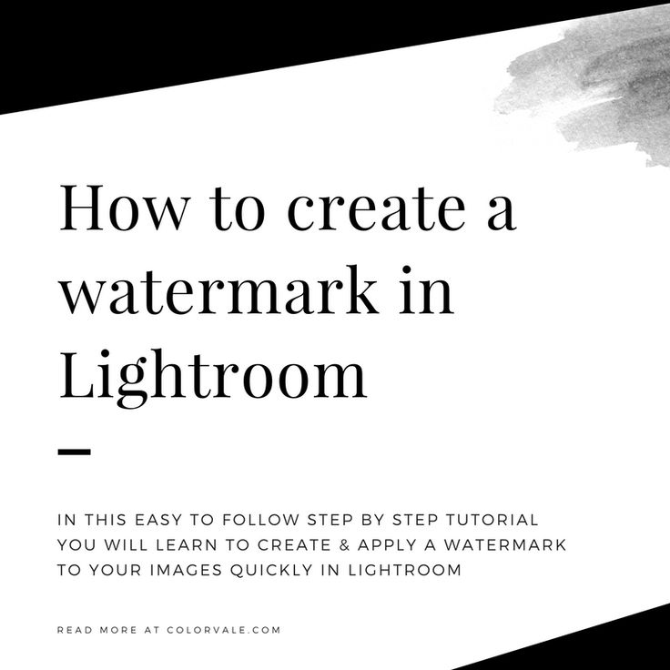 How to create a watermark in Lightroom