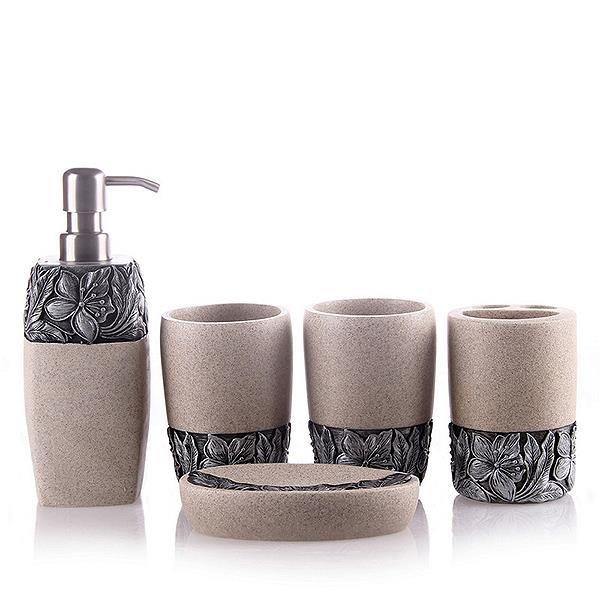 Pretty Resin Floral Pattern European Style 5 Piece Bathroom Accessories