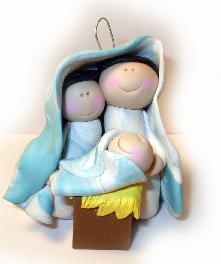 Christmas Nativity Jesus and Mary and Joseph ornament polymer clay. $12.00, via Etsy.