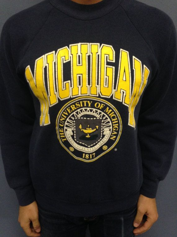 Vintage university of michigan crew neck sweatshirt crew for T shirt printing kalamazoo