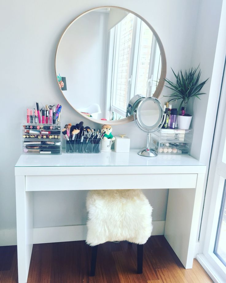 Makeup vanity table by IKEA. IKEA malm dressing table with IKEA stool and mirror. Makeup organizers by MUJI. Love love love!!!!