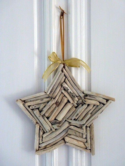 ghirlanda stella con pezzetti di rami secchi