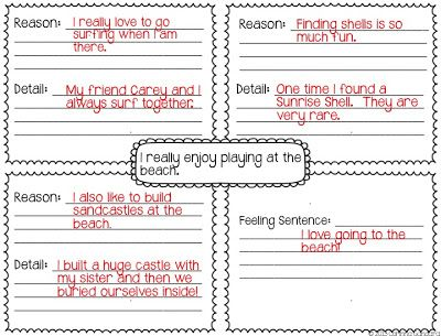 template to help them to really focus and write more than just a few sentences!