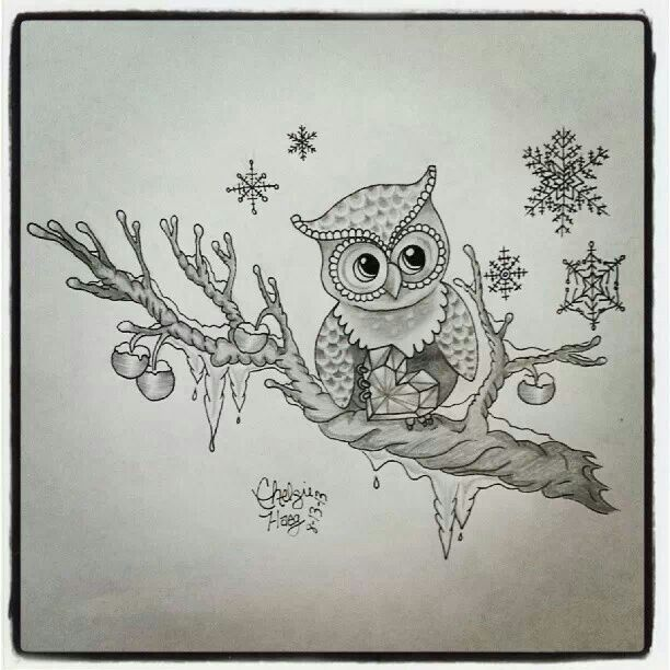 Owl ruby heart cherry tree icicle and snow flecks for Drawing design ideas