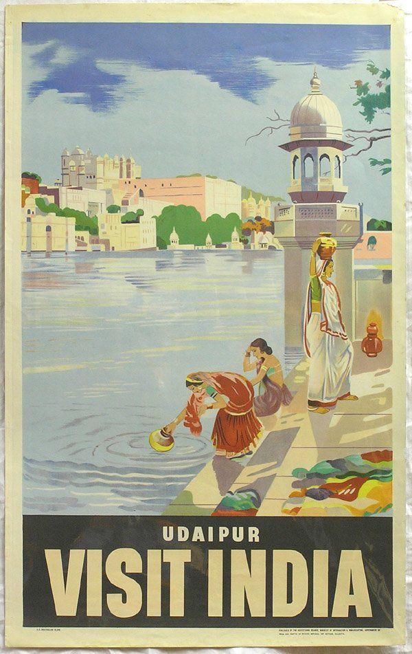 Vintage travel poster India Udaipur