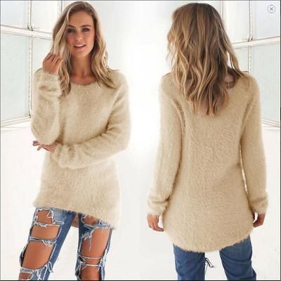 2019 Winter Warm Soft Sexy Woman Ladies Long Sleeve Sweater Coat Smooth New Pullovers Solid Thick O-neck Autumn Sweater New
