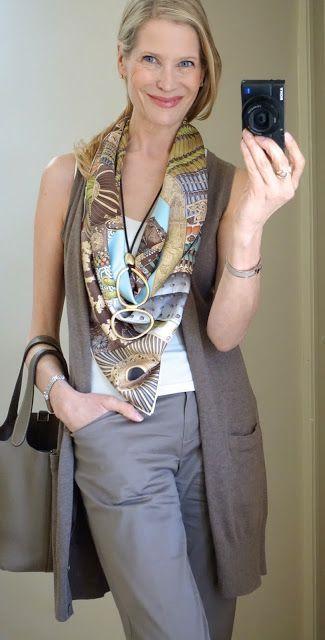 long vest over sleeveless, Hermes scarf – Silk Scarves