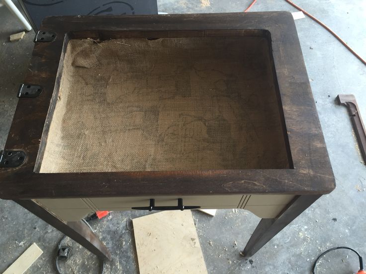 Flip Open Sewing Table Into Shadowbox Table. Use Clear Acrylic Sheets From  Home Depot ($10) As Top. Stained In Dark Walnut And Painted Burlap By Ralph  ...
