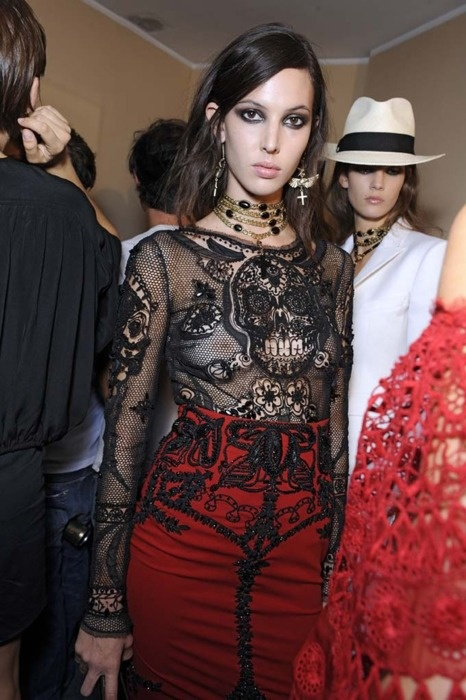 Love love love the outfit, but I the bra-less look cheapens it.  Ruby Aldridge sheer sugar skull top (a favourite gothic punk clothes repin of VIP Fashion Australia )