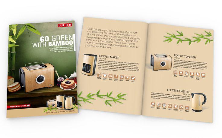 Brochure Design for Premium Range of Bamboo Finish Breakfast Series Appliances for USHA INTERNATIONAL