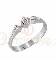 Μονόπετρo δαχτυλίδι Κ18 λευκόχρυσο με διαμάντι κοπής brilliant - MBR_004