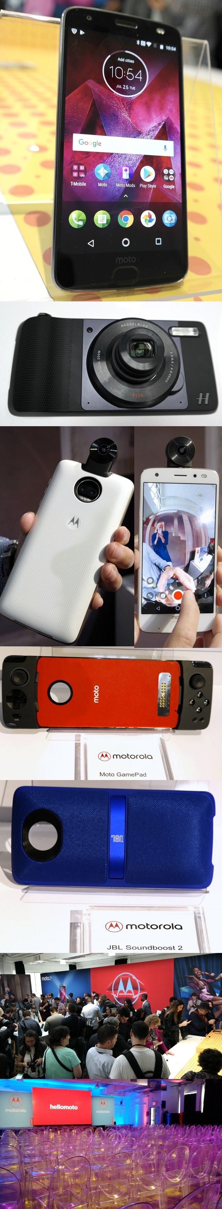 Motorola's mod, mod, mod, mod world: The modular Moto Z2 Force Android smartphone converts to a full-function Hasselblad True Zoom camera, 360-degree camera, projector, game controller or JBL boombox with the magnetic snap of an optional Moto Mod accessory back. Motorola guarantees the 5.5-inch Quad HD screen will never crack. The water-repellent Moto z2 Force ($720 or $30/mo.) has twin 12MP rear cameras, an extra-wide fingerprint sensor and Qualcomm's powerful Snapdragon 835 processor.