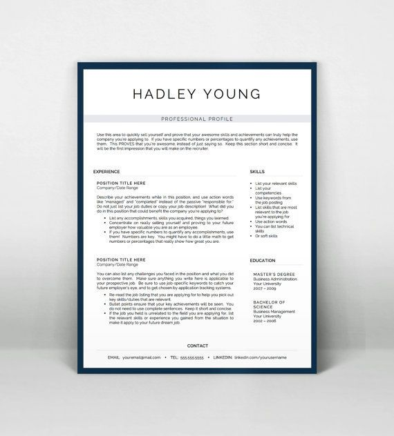 Professional Resume Template for Word and Pages by LandedDesignStudio http://itz-my.com