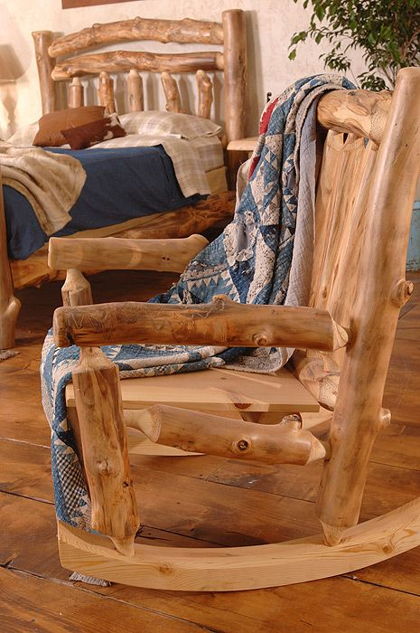 Rustic Aspen Log Rocking Chair on my front porch?  Would I ever come in???  Maybe the bed, too...  :)