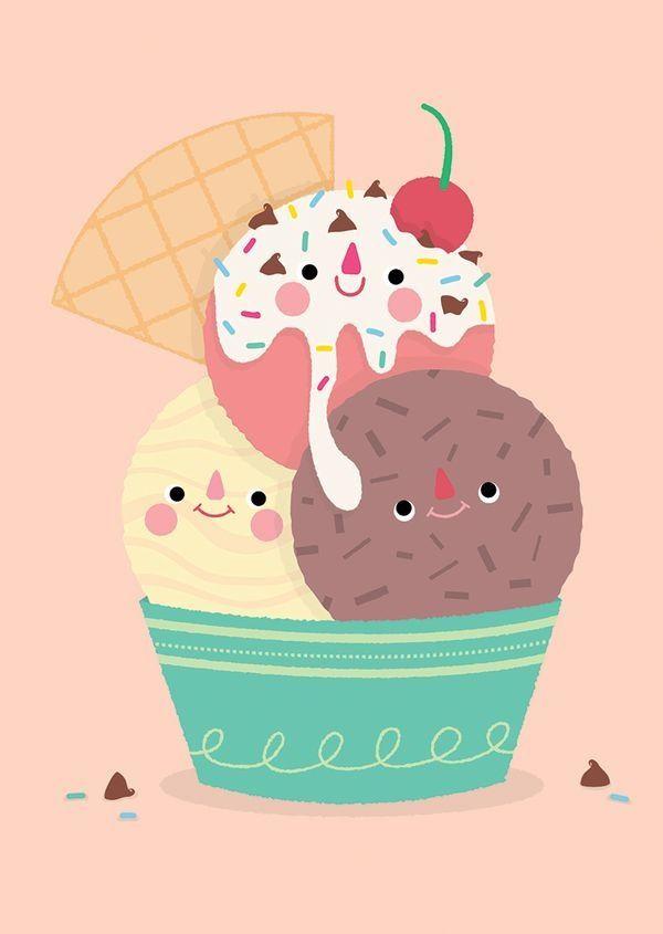 Kawaii Ice Cream Wallpaper