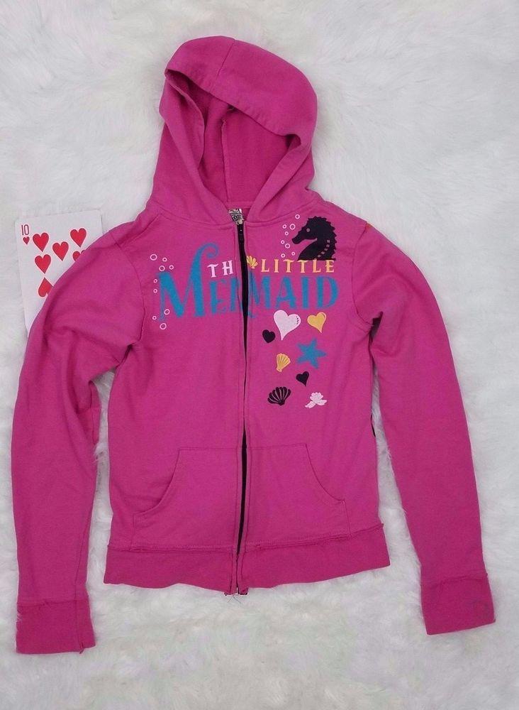 Disney Couture Little Mermaid Girls Jacket Sweatshirt Medium Pink Hoodie Zip #DisneyCouture #Hoodie