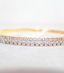 Buy Round Shape CZ Stones Studded in Silver with Gold Plating Magnifying Bracelet Bracelet online