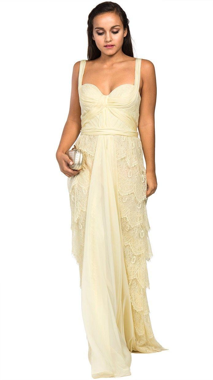 vestido largo amarillo para dama de honor Mignon disponible en alquiler